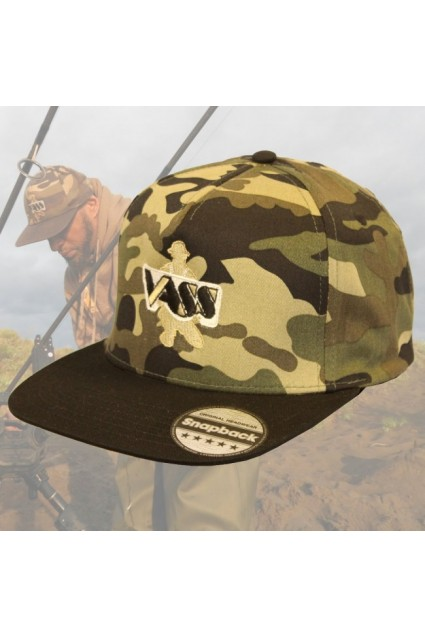 Kepurė Vass SnapBack Fishing Cap – Camo with Black Peak