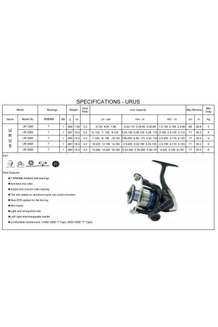 TiCA Urus UR5000 7+1BB 4.3:1 Saltw
